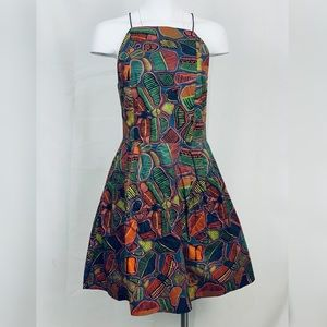 Kate Spade Saturday sz 8 graphic fit flare dress